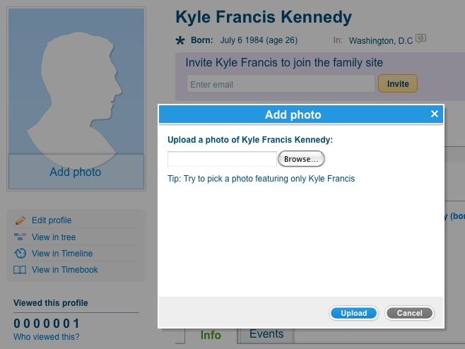 Add personal photo on the new profile page