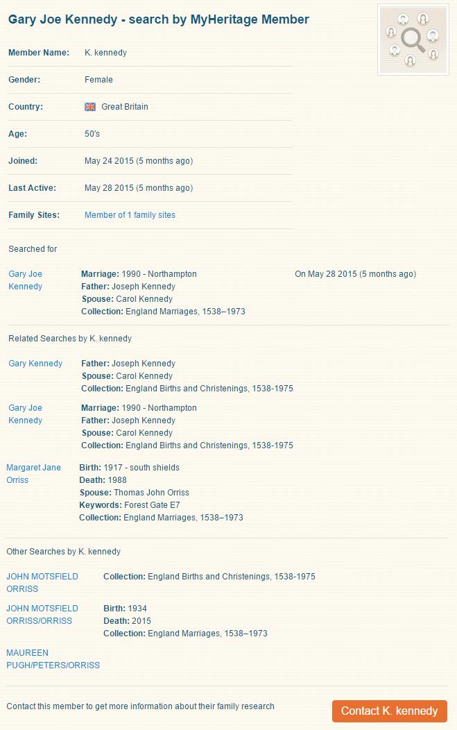 Search Connect™ tulos henkilöstä Joseph Kennedy (Klikkaa zoomataksesi)