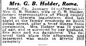 Overlijdensbericht van de echtgenote van Green Berry Holder