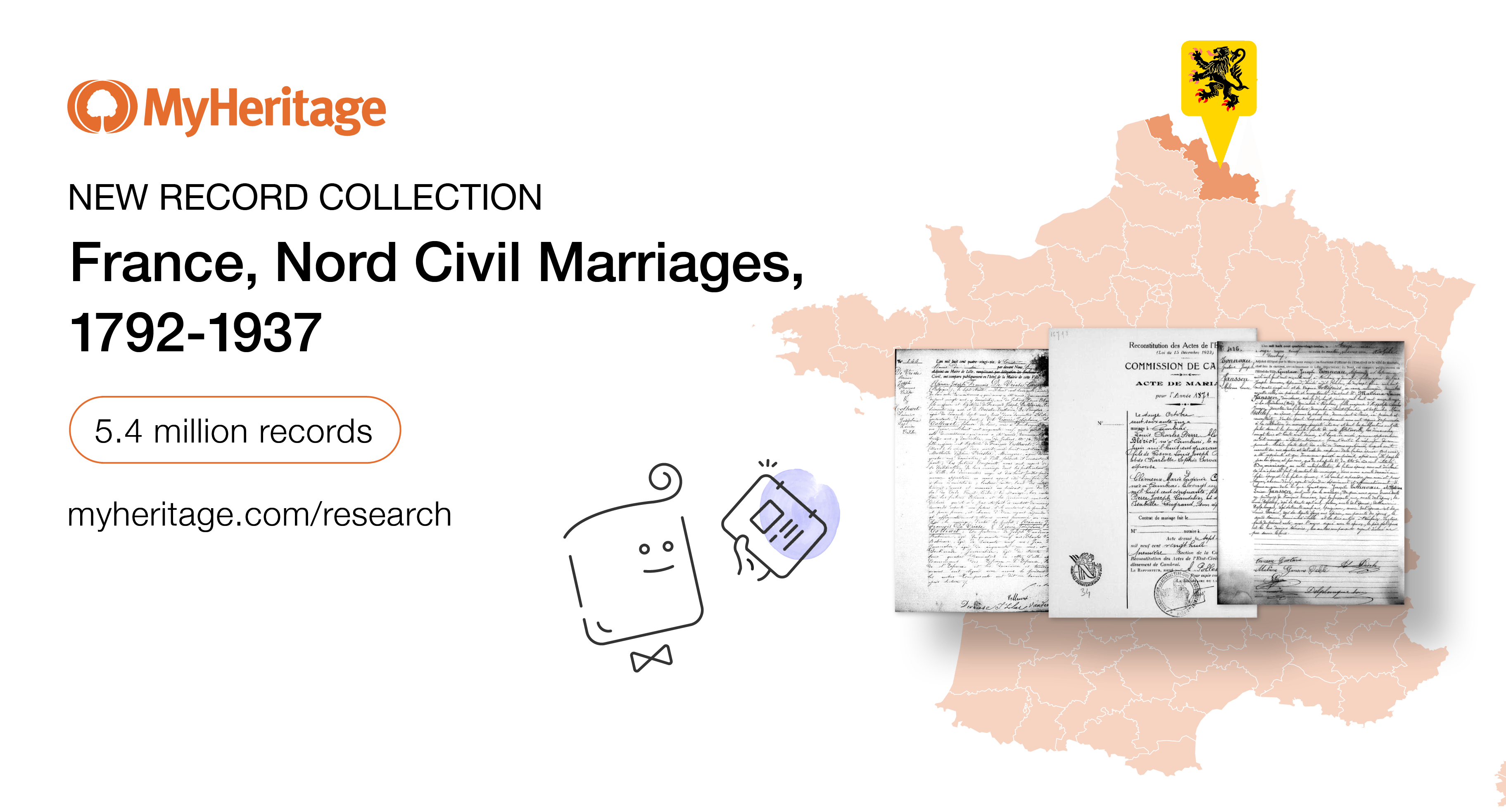 MyHeritage Adds French Record Collection: Nord Civil Marriage Records, 1792–1937