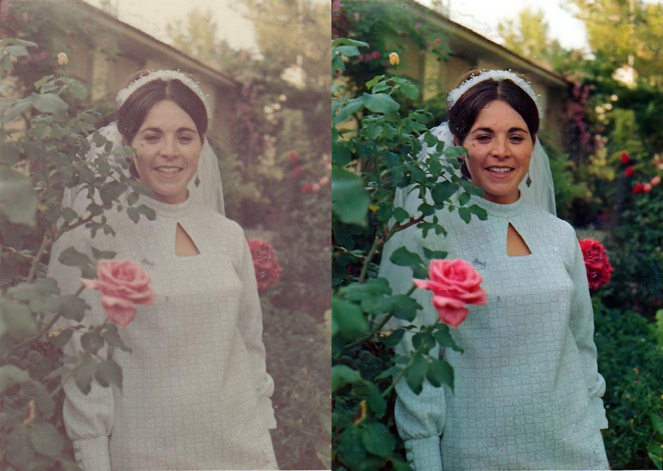 Left: faded color photo —a bride on her wedding day, Kibbutz Ramat Hashofet, Israel, June 1968. Right: the color-restored result