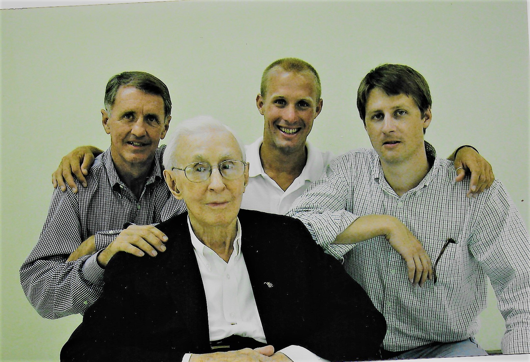 Love Letters: R.M. and Mary Elizabeth's descendants. From left, Allen Whitaker, great- grandchild, James Allen Whitaker, Sr. grandchild, and Wes and Alex Whitaker, great-great-granchildren. [Credit: Pamela Whitaker]