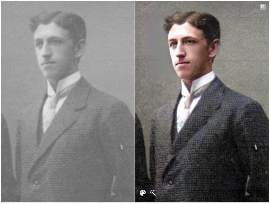 Foto von Simon Olson, verbessert und koloriert mit den Foto-Tools von MyHeritage. Sehen Sie den unglaublichen Unterschied!