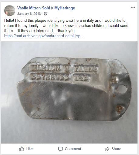 Vasiles Facebook-innlegg om brikken