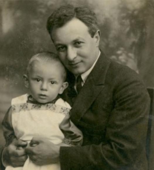 Dr. Arie Leib Chwojnik holding his son, Matitiahu, circa 1924.