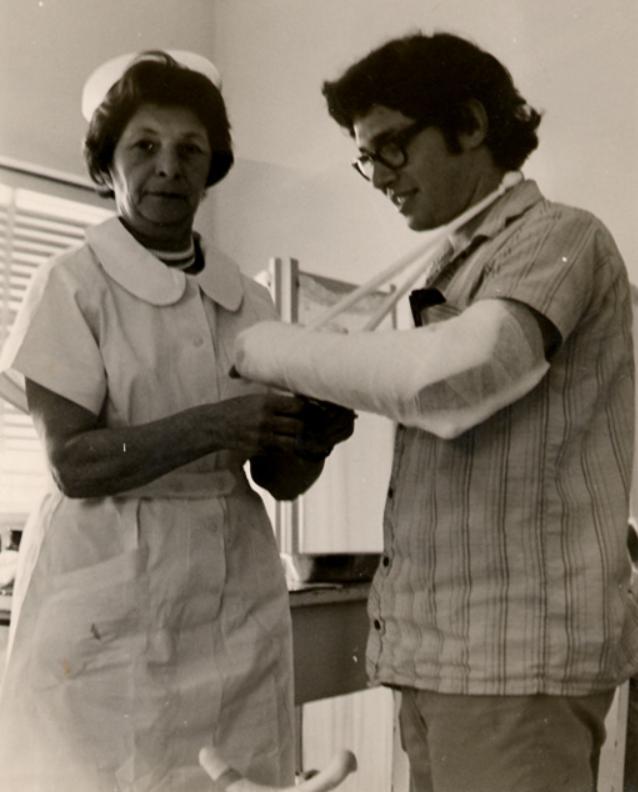 My grandmother Chana Chwojnik, still volunteering as a nurse post-retirement.