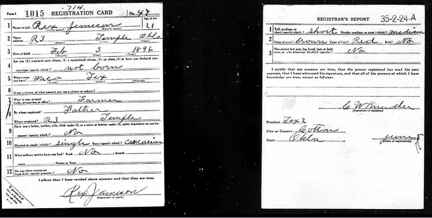 Rex Jameson's World War I Draft Registration Record