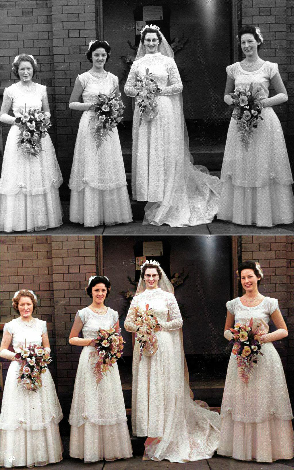 Terry's mother-in-law Anne Hall with her bridesmaids on her wedding day