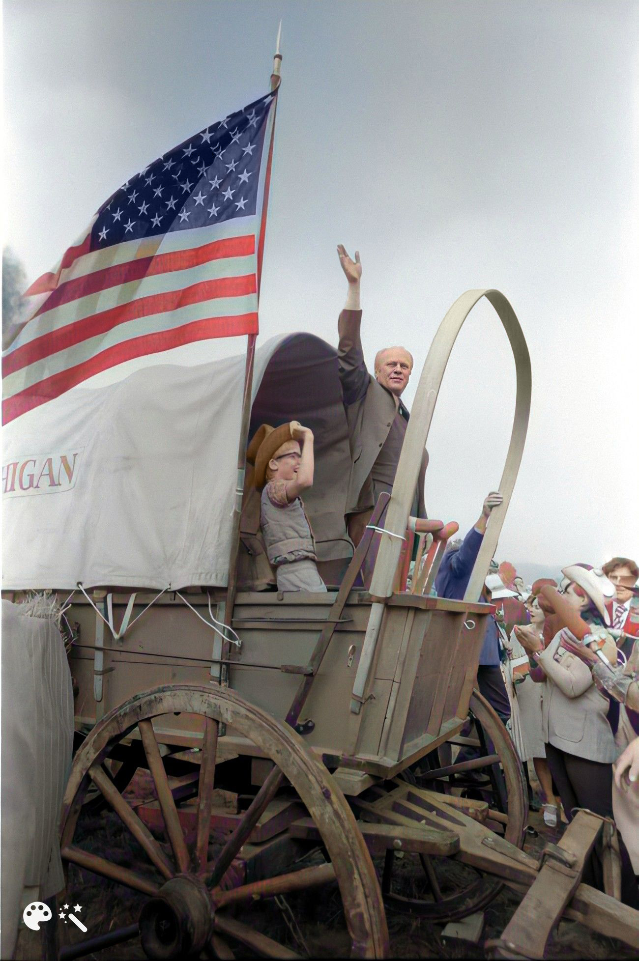 President Ford boards the Michigan wagon at the Bicentennial Wagon Train Pilgrimage encampment in Valley Forge State Park, Valley Forge, Pennsylvania, July 4, 1976. Courtesy of the Ford Library Museum