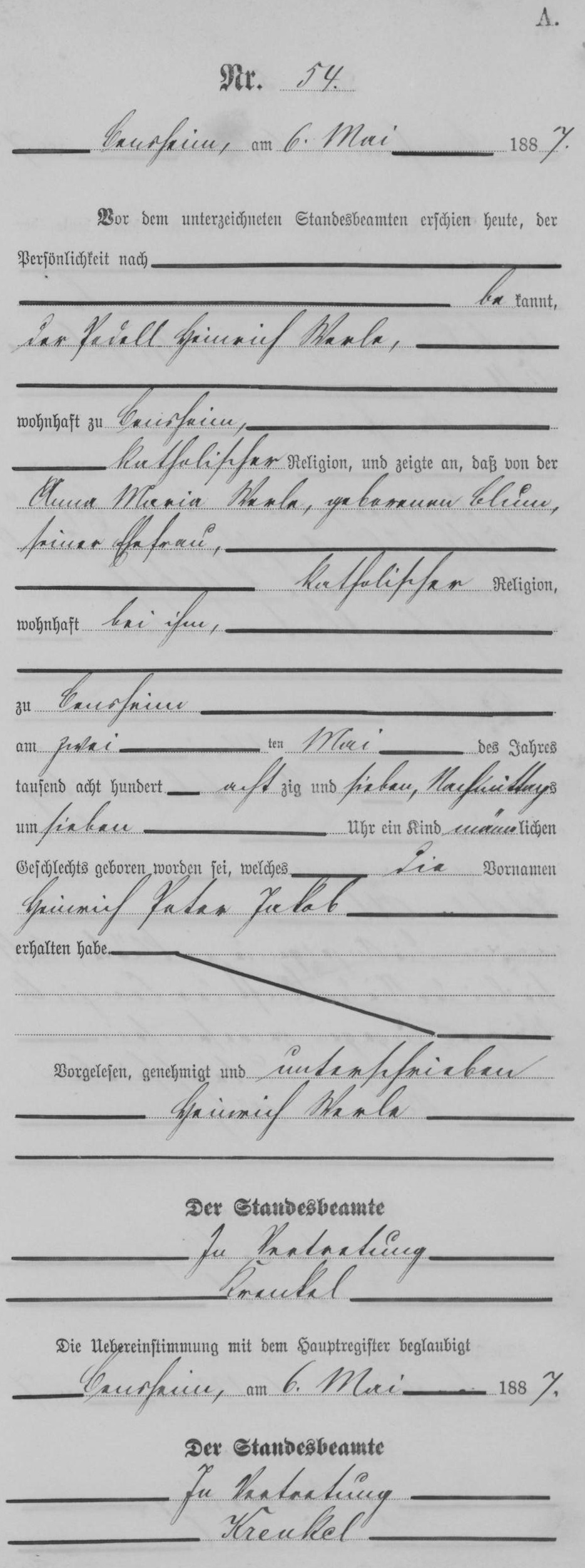 Birth record of Heinrich Werlé from the Germany, Hesse Birth Index, 1874–1911