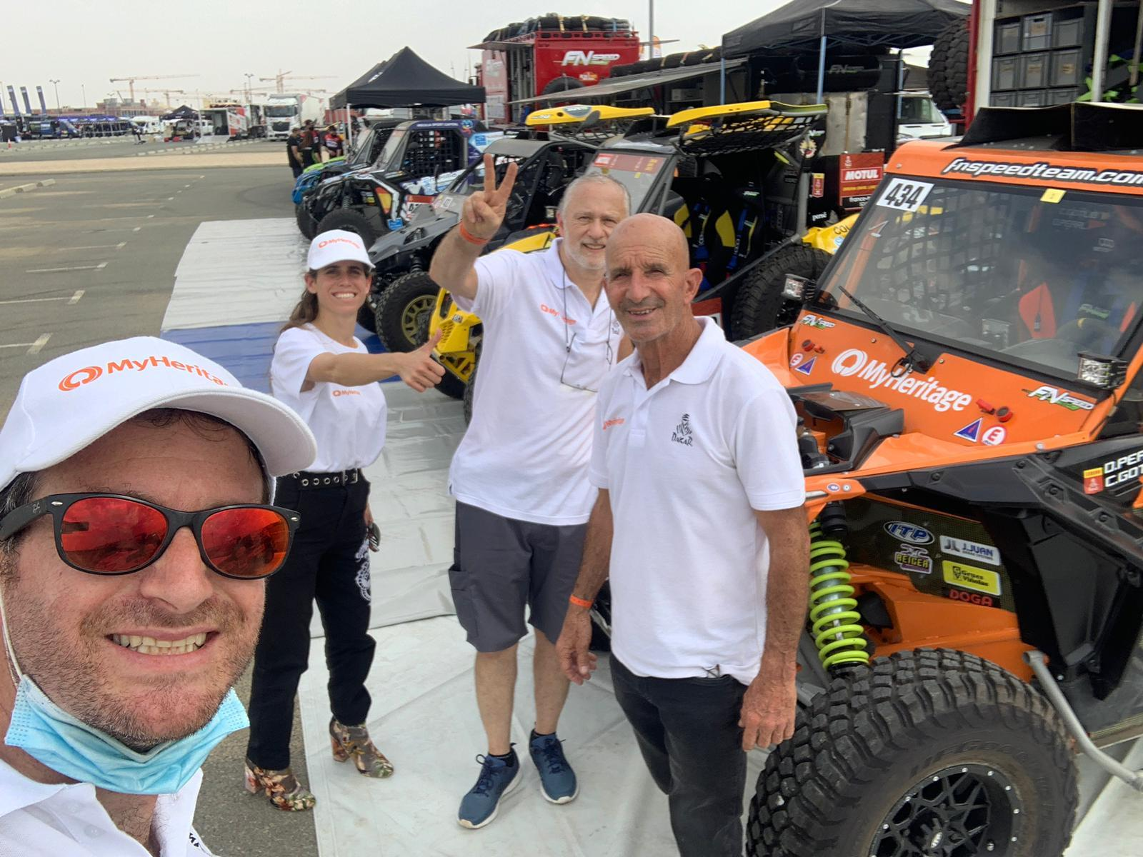 From left to right, Omer Pearl – team manager, Dr. Nirit Ofir – special advisor, and co-driver Charly Gotlib, and driver Danny Pearl