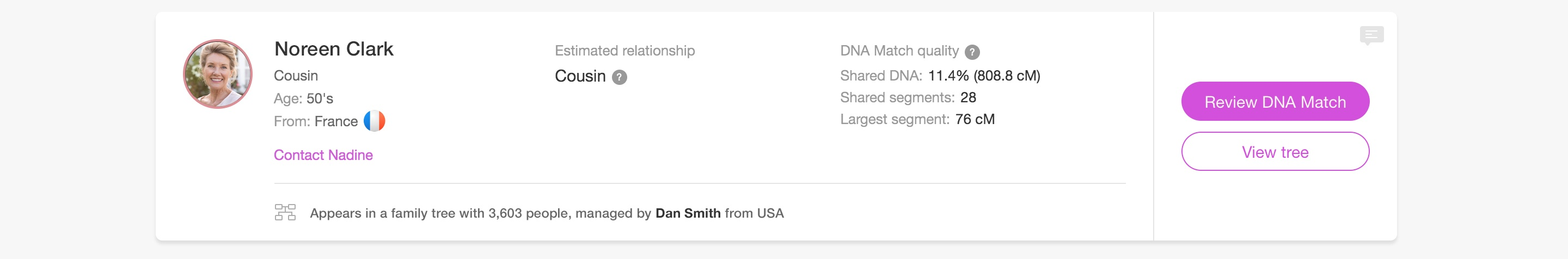 For every DNA Match, you'll learn the estimated relationship and % shared DNA
