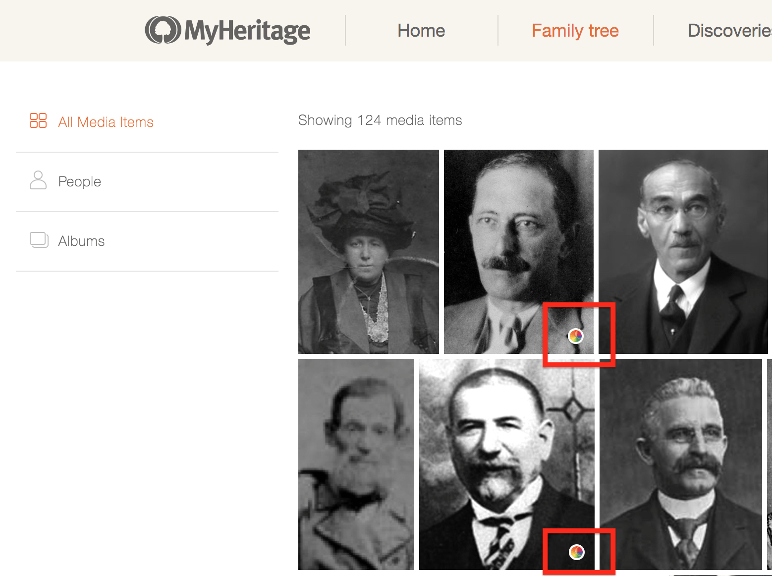 'My Photos' section on MyHeritage. Colorized photos are indicated (Click to zoom)