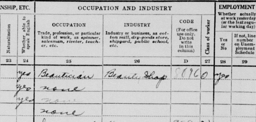 1930 census listing Opal Jameson as a beautician who owned a beauty shop