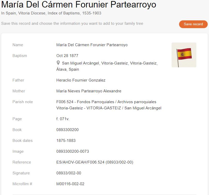 Baptism recordof María Del Cármen Forunier Partearroyo