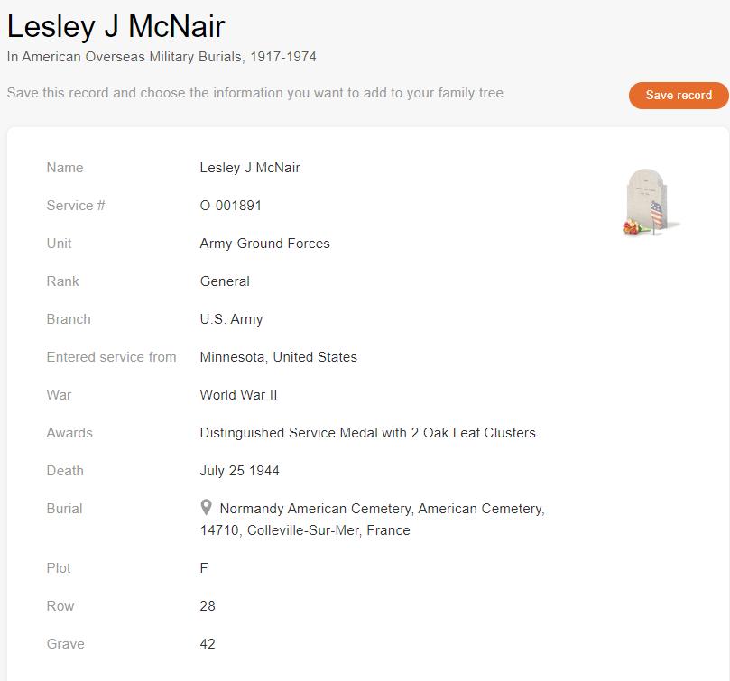 Military Burial record of Lesley J. Mcnair [Kredit: American Overseas Military Burials, 1917–1974]