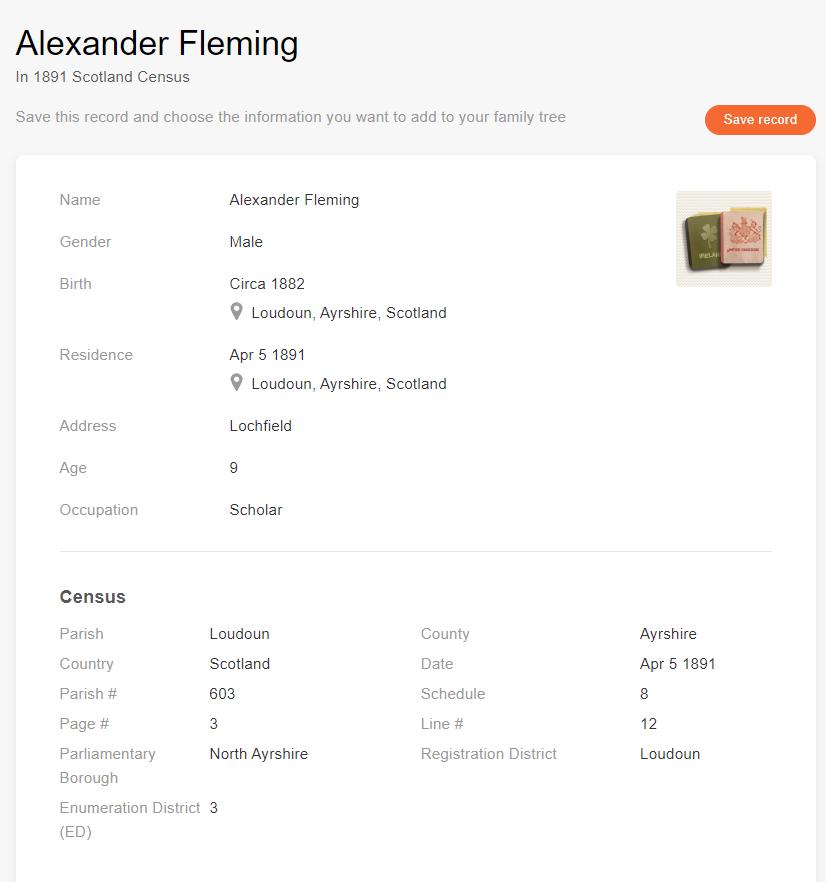 Folketellingns- oppføring for Alexander Fleming [Kilde: MyHeritage 1891 Scotland Census]