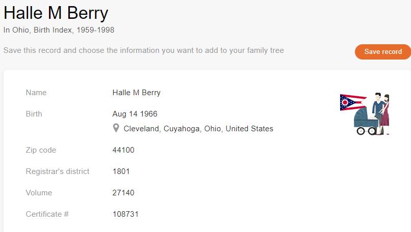 Birth record of Halle Berry [Credit: MyHeritage Ohio Birth Index, 1959–1998]
