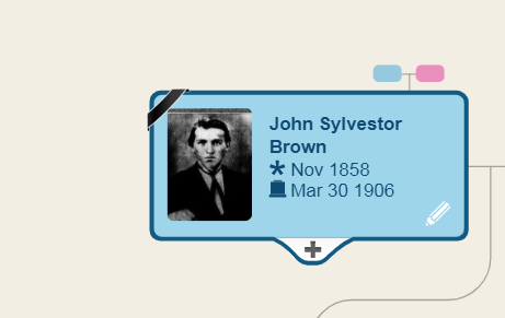 Family tree entry and photo of John Sylvestor Brown[Credit: MyHeritage]