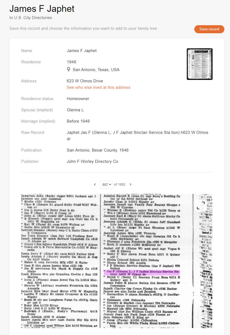 Example record from San Antonio, Texas, 1948 (click to zoom)