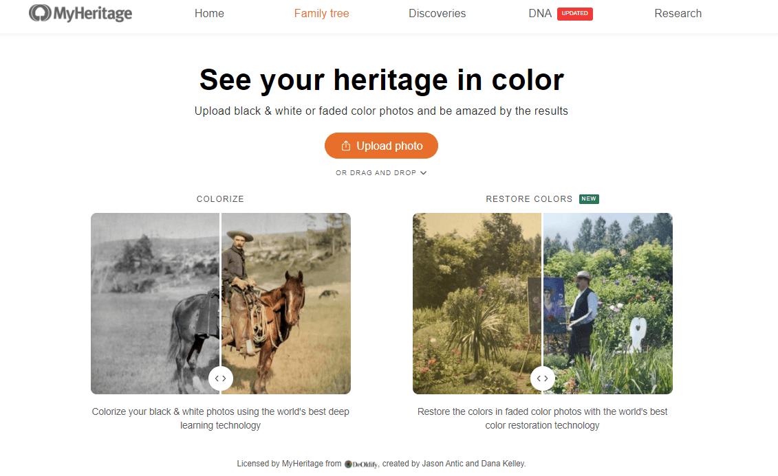 עמוד הנחיתה של היישום ™MyHeritage In Color