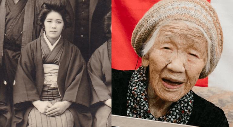 Verdens eldste person, Kane Tanaka, før og nå [foto-kreditt: Guinness World Records]