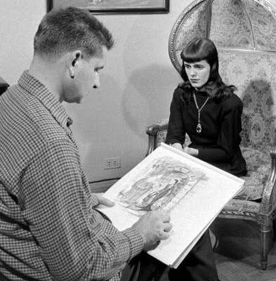 Historical records: Charles Addams sketching Barbara Addams for The Addams Family Cartoon, photo credit: animatededucation