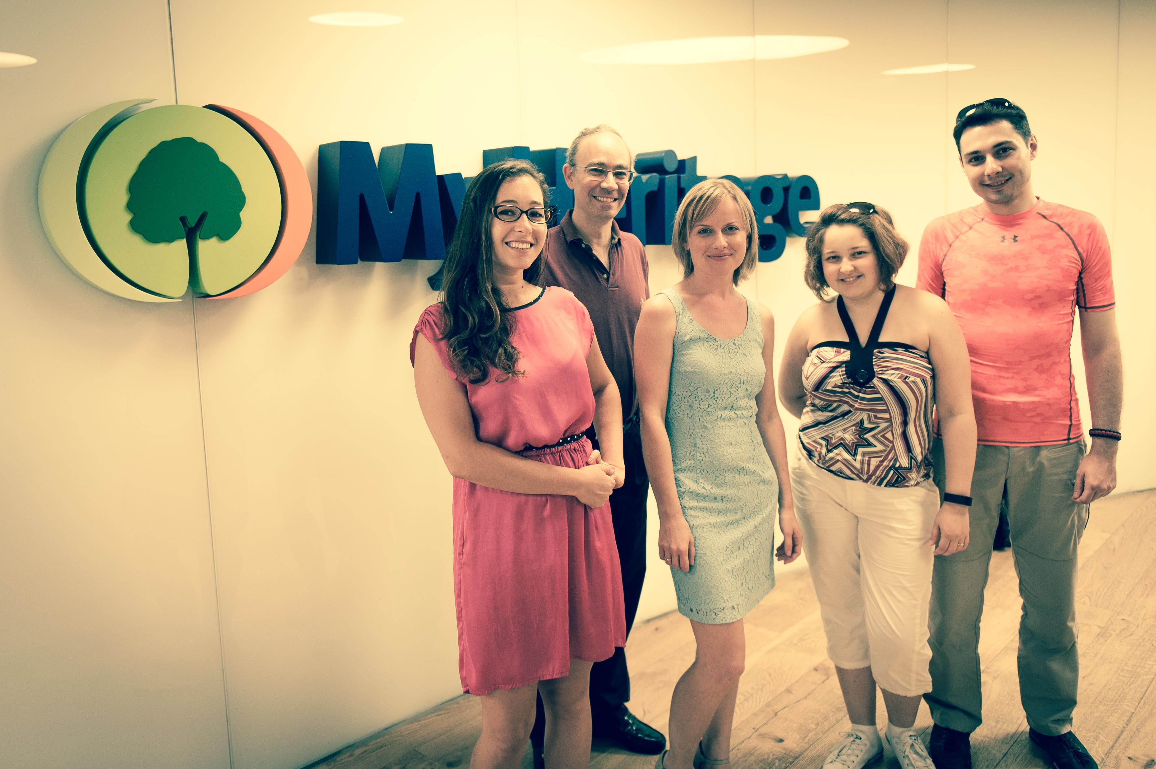 Yana and her husband with the MyHeritage Translations Team