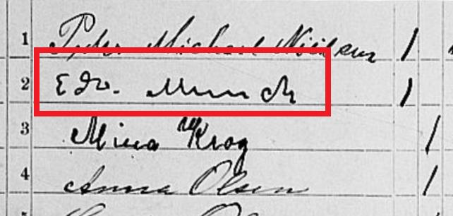 Edvard Munchs håndskrift i 1900-folketællingen.