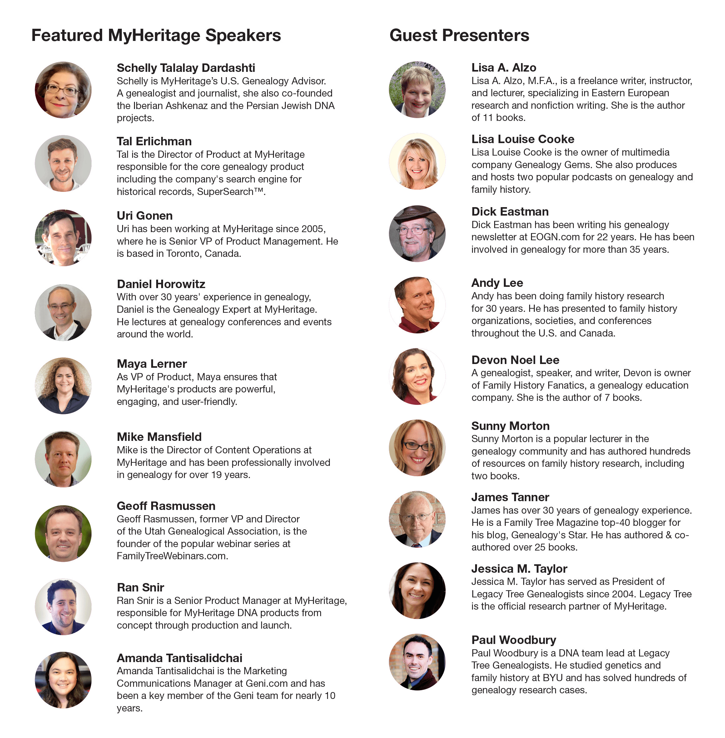 Featured MyHeritage and guest speakers (click to zoom)