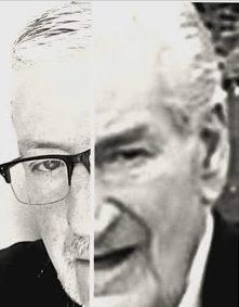 Uma colagem que Jane fez demonstrando a notável semelhança entre Tony (à esquerda) e Bernard (à direita)